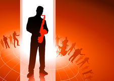 Saxophone player with musical group background Royalty Free Stock Image