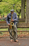 Saxophone Player. NEW YORK CITY - OCTOBER 9: A saxaphonist busking in Central Park's Bethesda Terrace, a popular tourist attraction October 9, 2012 in New York Stock Images
