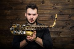 Saxophone Player Saxophonist with Sax Royalty Free Stock Image