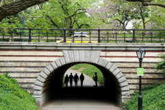 Saxophone player silhouette under a bridge in Central Park NYC Stock Photo