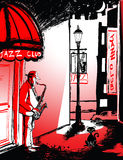 Saxophone player in a street at night. Vector illustration of saxophone player in a street at night Stock Photos