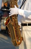 Saxophone Player with White Gloves Royalty Free Stock Photography