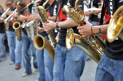 Saxophone players street parade Royalty Free Stock Image