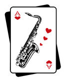 Saxophone and playing cards Royalty Free Stock Image