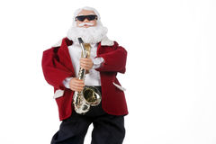 Saxophone Playing Santa Clause Isolated Royalty Free Stock Image