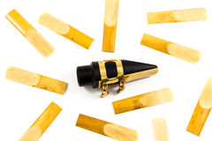 Saxophone Reed &  Mouthpiece. Saxophone Reeds and  Mouthpiece on the white background Royalty Free Stock Photo
