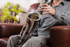 Saxophone rehearsal Stock Images