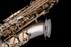 Saxophone Silver Gold Isolated Black Stock Images
