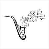 Saxophone sketch. Vector illustration - Saxophone sketch with music notes stock illustration