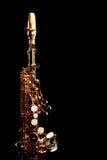 Saxophone soprano isolated. Saxophone soprano jazz music instruments isolated on black Sax close up stock images