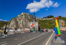 Saxophone statue in Dinant - Belgium. Architecture background Stock Photos