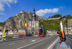 Saxophone statue in Dinant - Belgium. Architecture background Stock Images