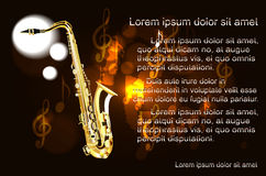 Saxophone, the text on the background of musical notes Stock Images