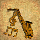 Saxophone treble clef and musical note on textural Stock Image