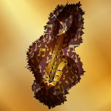 Saxophone with treble clef over golden plane Royalty Free Stock Photo