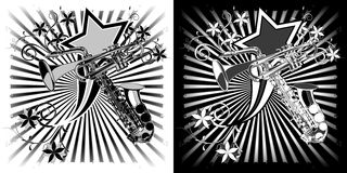 Saxophone and trumpet black  white clipart Royalty Free Stock Images