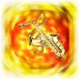Saxophone trumpet  on a bright blurred background treble clef Royalty Free Stock Photo