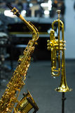 Saxophone and trumpet Stock Images