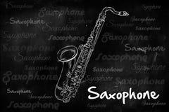 Saxophone typography sketching on blackboard. Music wallpaper Stock Photos