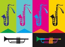 Saxophone. Vector illustration for music theme Stock Photography