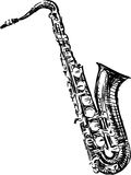 Saxophone. Vector image of a sketch of a saxophone stock illustration