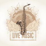 Saxophone with wings Royalty Free Stock Photography
