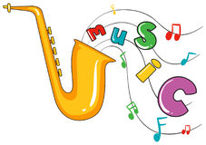Saxophone and word music on white background Stock Images