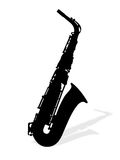Saxophones. Illustration of saxophone with shadow Royalty Free Stock Image