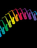 Saxophones Background. Rainbow colored saxophones against a black background.  Space for copy Royalty Free Stock Photos