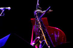 Saxophones and grand piano Royalty Free Stock Photography