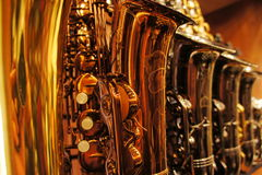 Saxophones in store 2 Royalty Free Stock Photo