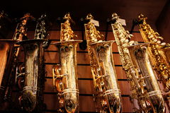 Saxophones in store 3 Stock Images