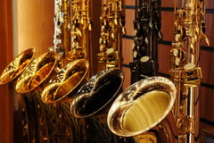 Saxophones in store Royalty Free Stock Images
