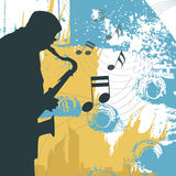 Saxophonist. Grunge style saxophonist silhouette vector Royalty Free Stock Photography