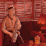 Saxophonist. Vector illustration of a saxophonist playing in a house with shutters Stock Photos