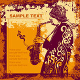 Saxophonist. Vector illustration with saxophonist in grunge style. CD cover Stock Image
