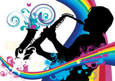 Saxophonist. Swirling sainbow illustration with saxophonist Royalty Free Stock Photo