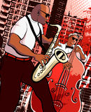 Saxophonist and  bassist. Vector illustration of a saxophonist and  bassist on grunge city background Stock Photography