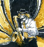 Saxophonist in black-and-white. The person in a white shirt, in a hat, a tie and glasses plays a saxophone on black gold a background Stock Images