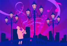 The saxophonist on a decline, vector. The saxophonist in parkway with lanterns in beams of a decline, sounds of music, a vector Stock Image