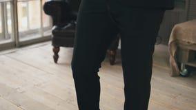 Saxophonist in dinner jacket step in on stage. Jazz artist. Style. Elegance stock video footage