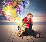 Saxophonist Royalty Free Stock Photo