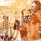 Saxophonist on a grunge background. Vector illustration of a saxophonist on a grunge background Stock Photo