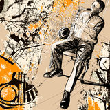 Saxophonist on a grunge background. Vector illustration of a saxophonist on a grunge background Stock Image