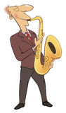 Saxophonist. Jazz musician. Cartoon Royalty Free Stock Image