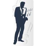 Saxophonist. Makes money,  on white background. Vector illustration Stock Photos