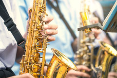 Saxophonist play jazz music vintage color tone Royalty Free Stock Image