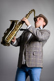Saxophonist playing Stock Images