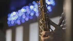 Saxophonist playing the instrument. HD stock video footage