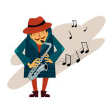 Saxophonist Playing Love Melody Vector Royalty Free Stock Photo